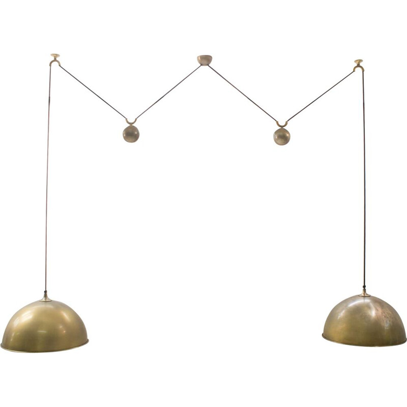 Vintage Double Posa pendant in brass by Schulz 1970