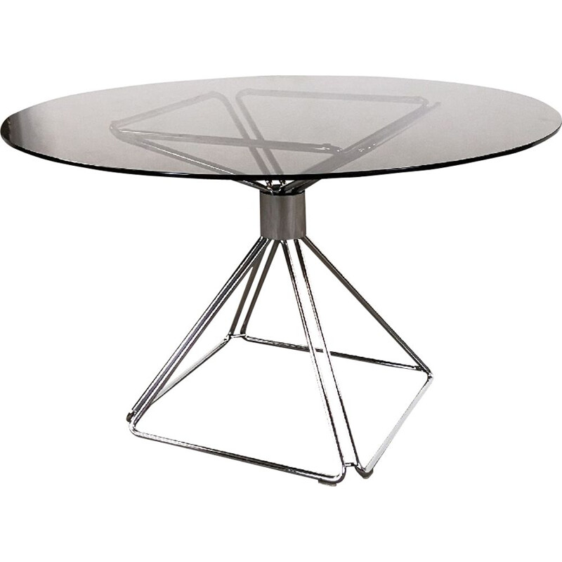 Vintage table for Novalux in glass and steel 1970