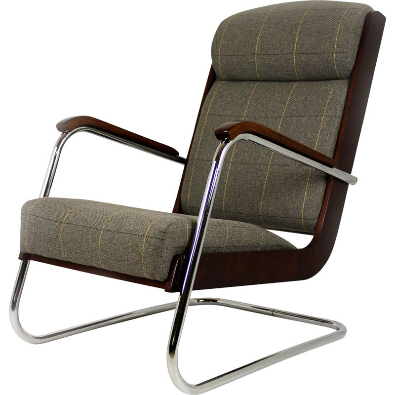 Vintage armchair in checkered grey fabric wood and steel 1940