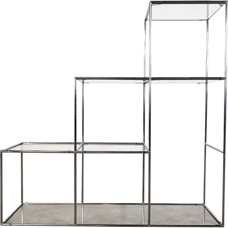Vintage Abstracta shelf system for Abstracta System in glass and silver steel 1960