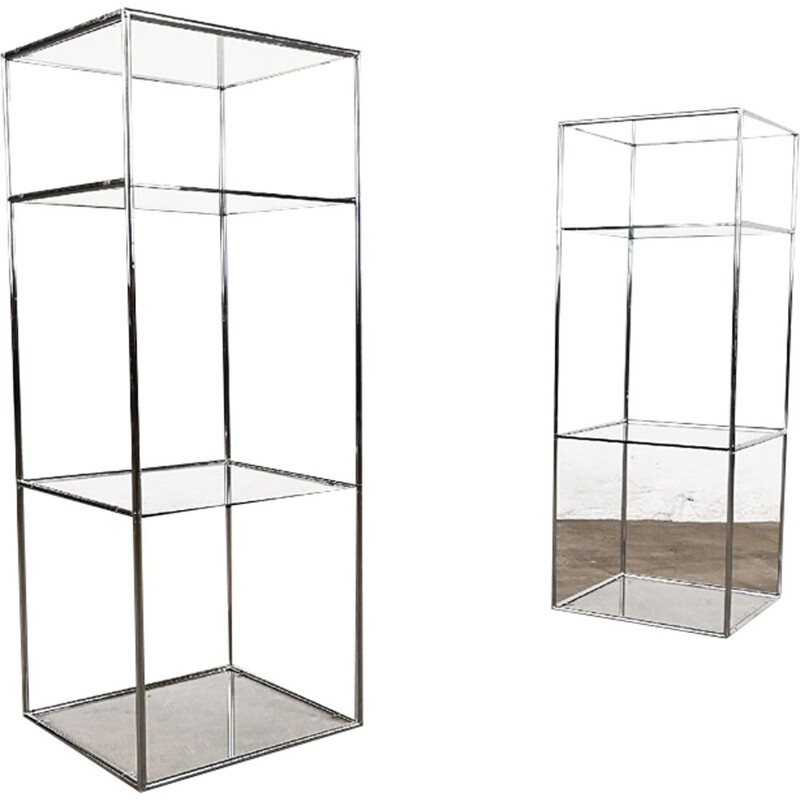 Pair of vintage Abstracta stands for Abstracta System in glass and steel
