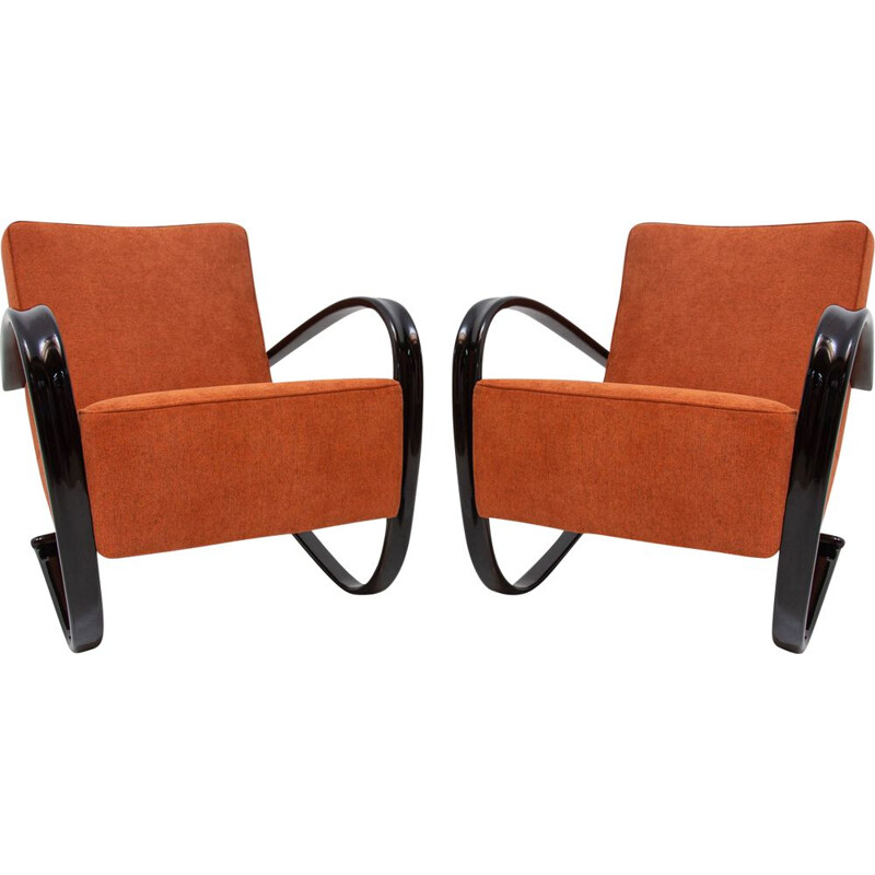 Pair of Vintage Lounge chairs H-269 by Jindřich Halabala for UP Zavody Brno, 1930s
