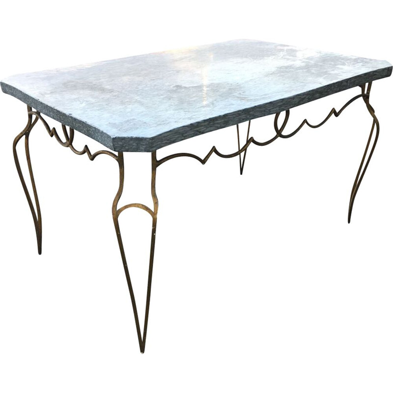 Vintage coffee table in gold beaten metal and marble by René Prou