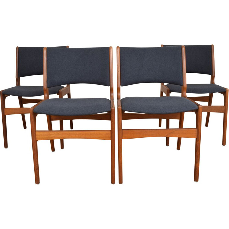 Set of 4 vintage danish chairs model 89 for Anderstrup in teak and fabric