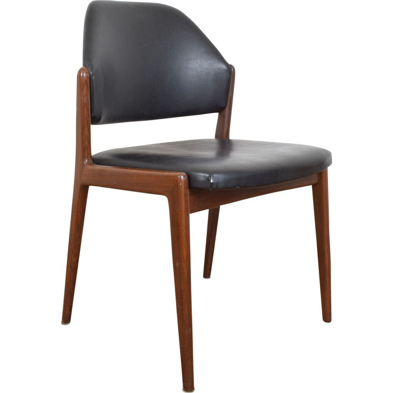 Vintage side chair for Wilkhahn in teak and black leather 1950