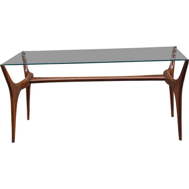 Vintage italian coffee table in wood and glass 1950