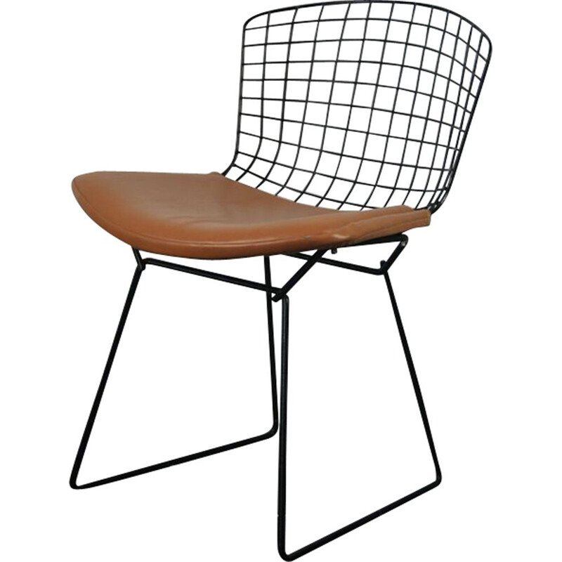 Vintage Bertoia chair for Knoll in black steel and leatherette 1950