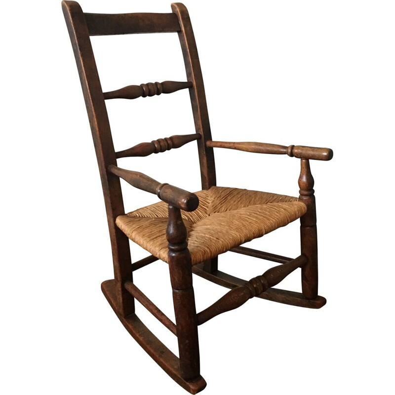Vintage Rocking Chair in Oak for Children's
