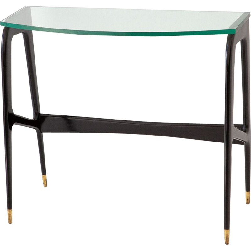 Black Italian console in wood and glass