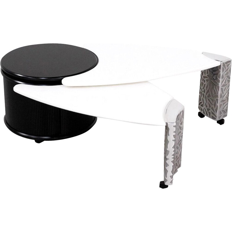 Vintage coffee table by Leolux in wood and aluminium 1980
