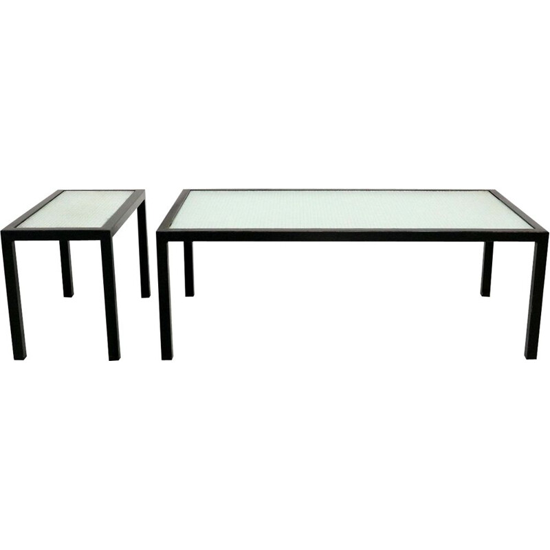 Set of 2 vintage coffee tables in black metal and glass