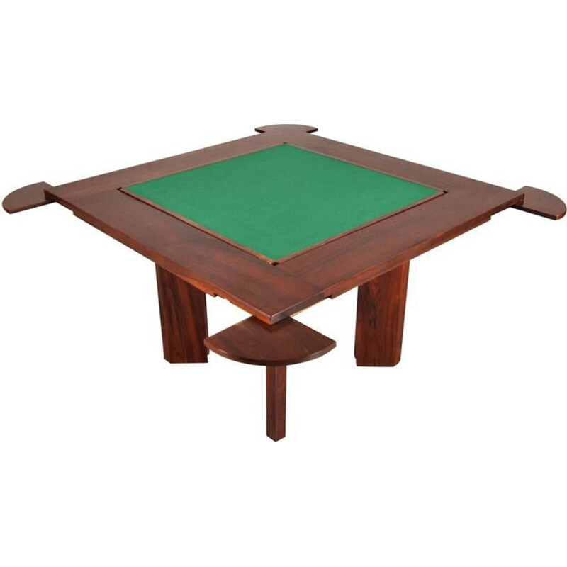 Vintage gaming table in solid rosewood
