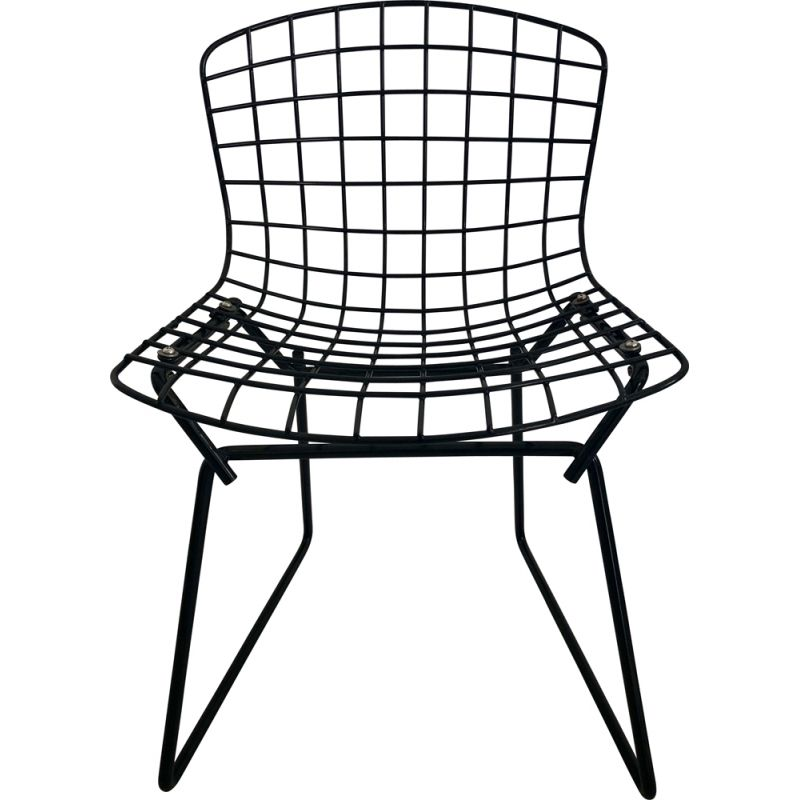 Vintage black kid's chair by Harry Bertoia for Knoll