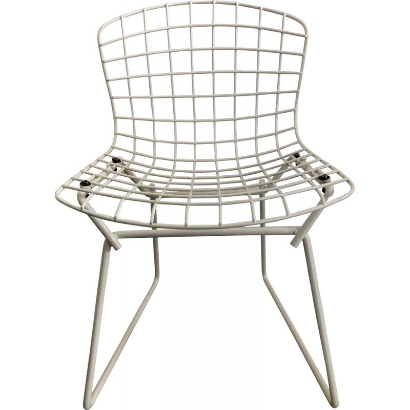 Vintage white kid's chair by Harry Bertoia for Knoll