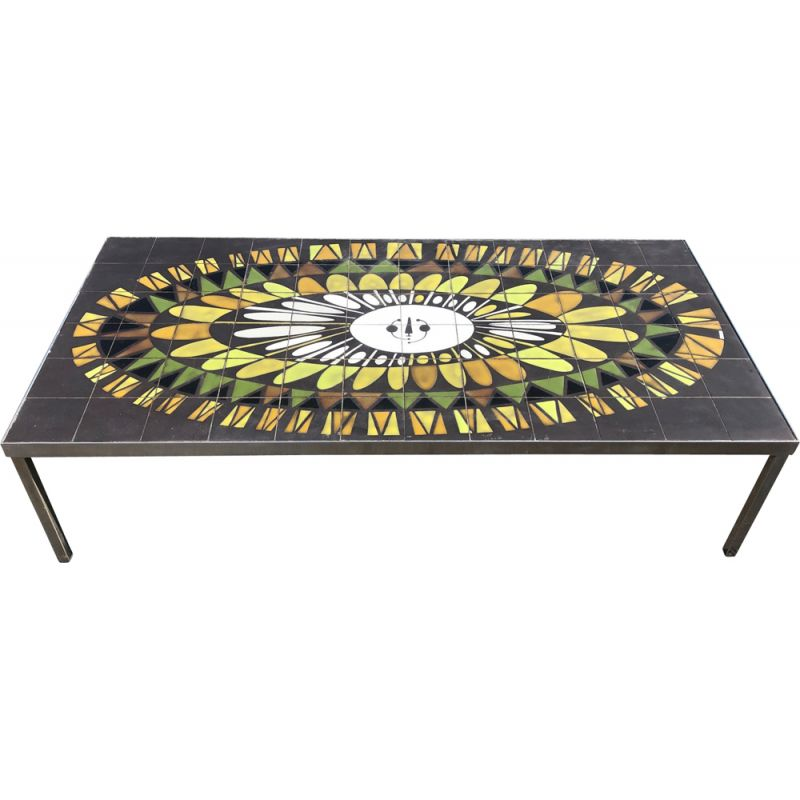 Vintage Coffee Table by Capron in green ceramic France 1960s