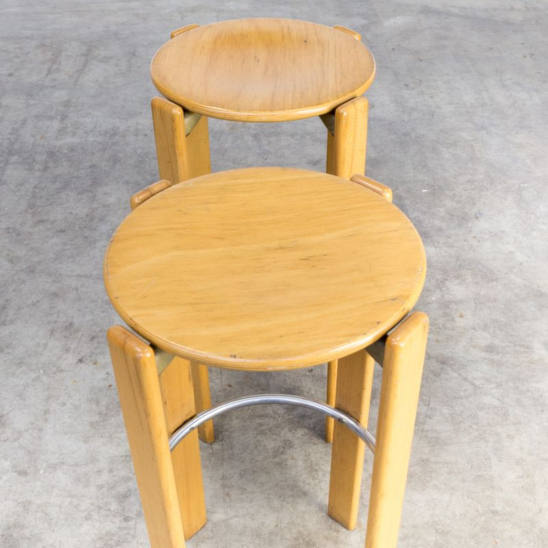 Admirable Set Of 2 Vintage Swiss Stools For Dietiker Kusch Co In Beech And Metal 1970 Pdpeps Interior Chair Design Pdpepsorg
