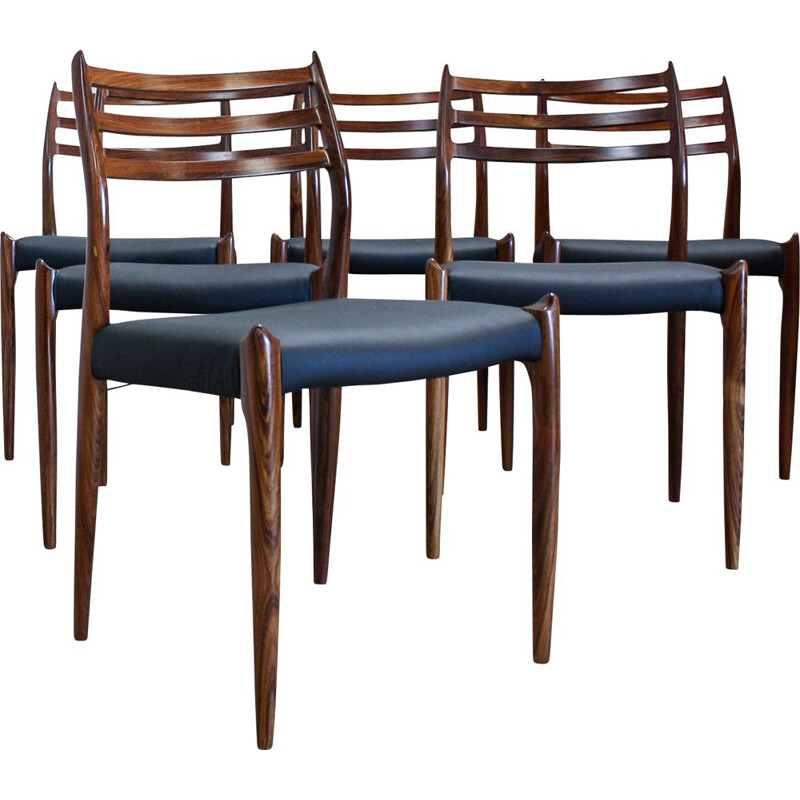 Vintage set of 6 dining chairs in rosewood Model 78 by Niels O. Møller for J. L. Møllers Møbelfabrik,1960