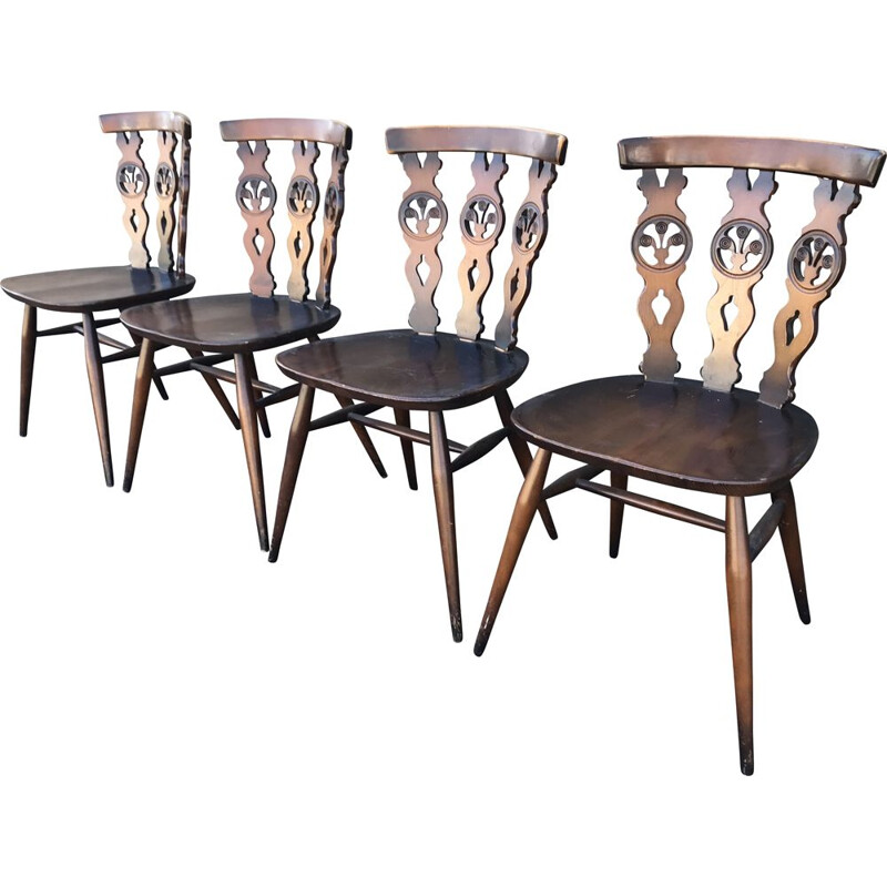 Vintage set of 4 dining chairs by Lucien Ercolani model  Windsor Ercol,1960