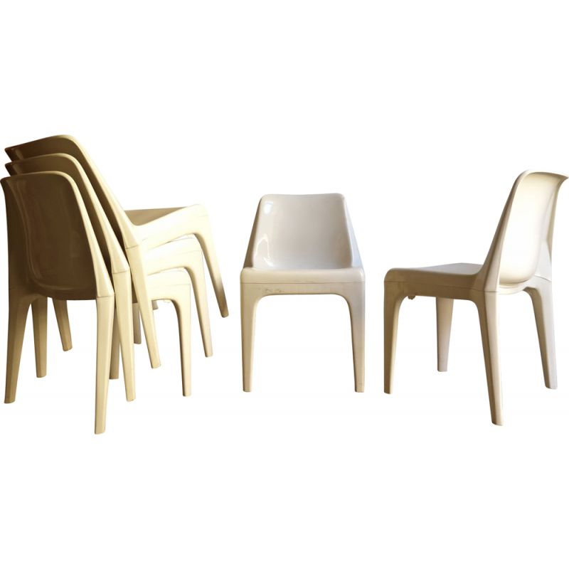 Stackable Chairs In White Plastic 1970 Vintage Designer Furniture