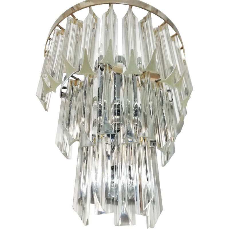 Vintage wall lamp by Paolo Venini  in Murano glass and chromed metal