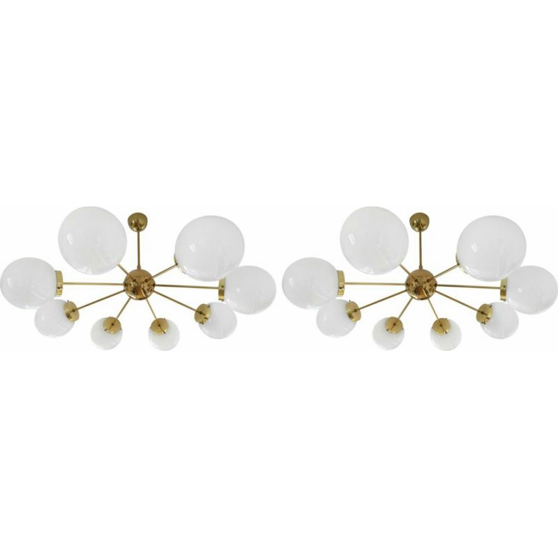 Pair of large vintage Sputnik chandeliers in opaline glass and brass 1960
