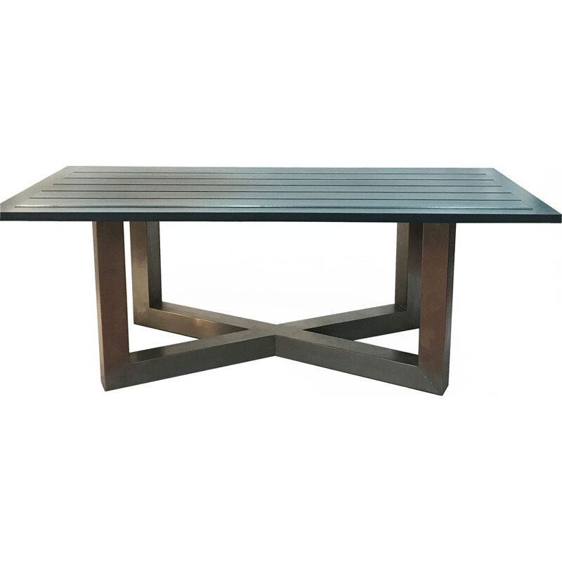 Vintage table in blue stainless steel and wood 1940