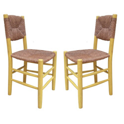 Pair of dining chairs, Charlotte PERRIAND - 1950s