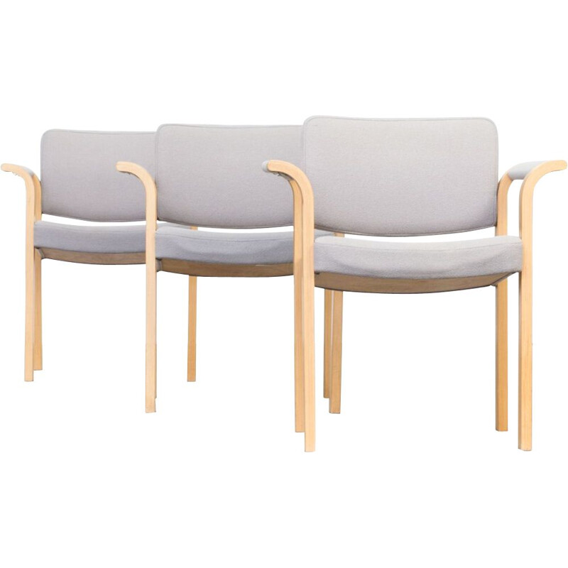 Set of 3 vintage chairs for Magnus Olesen in birchwood 1960