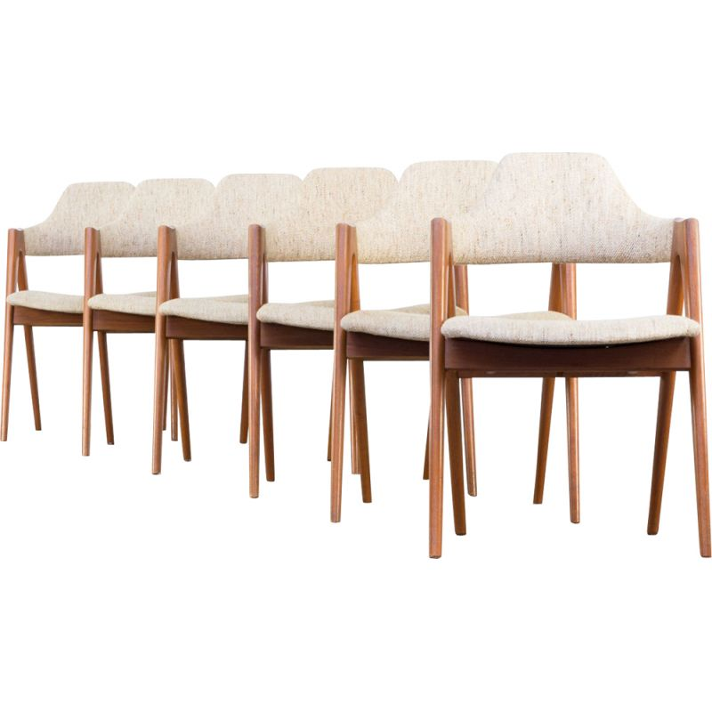 Set of 6 vintage Compass chairs for SVA in beige fabric and teakwood 1960