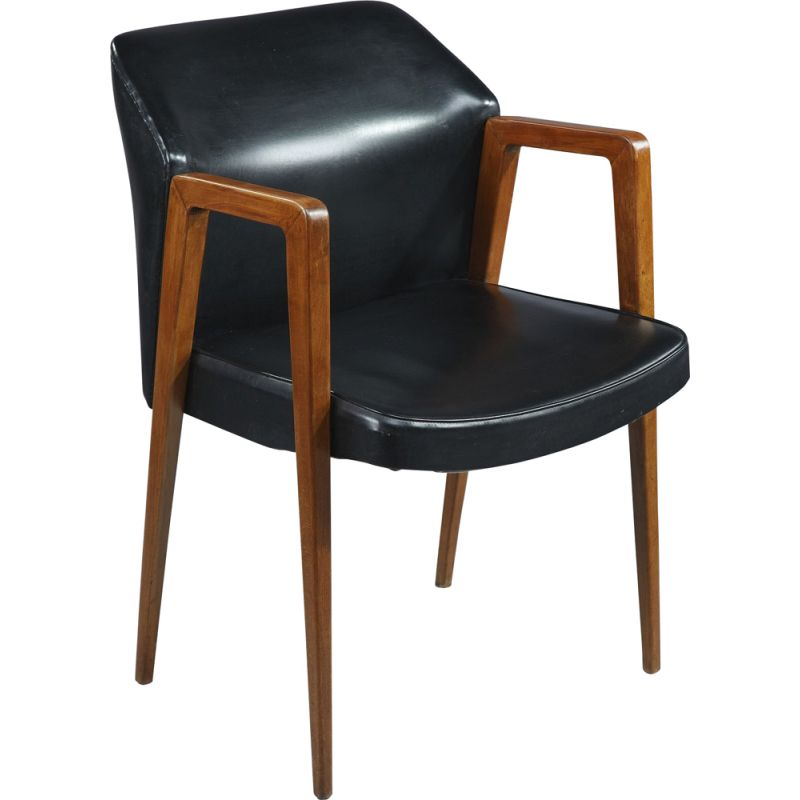 Set of vintage desk and armchair for Sibast in black leatherette and rosewood