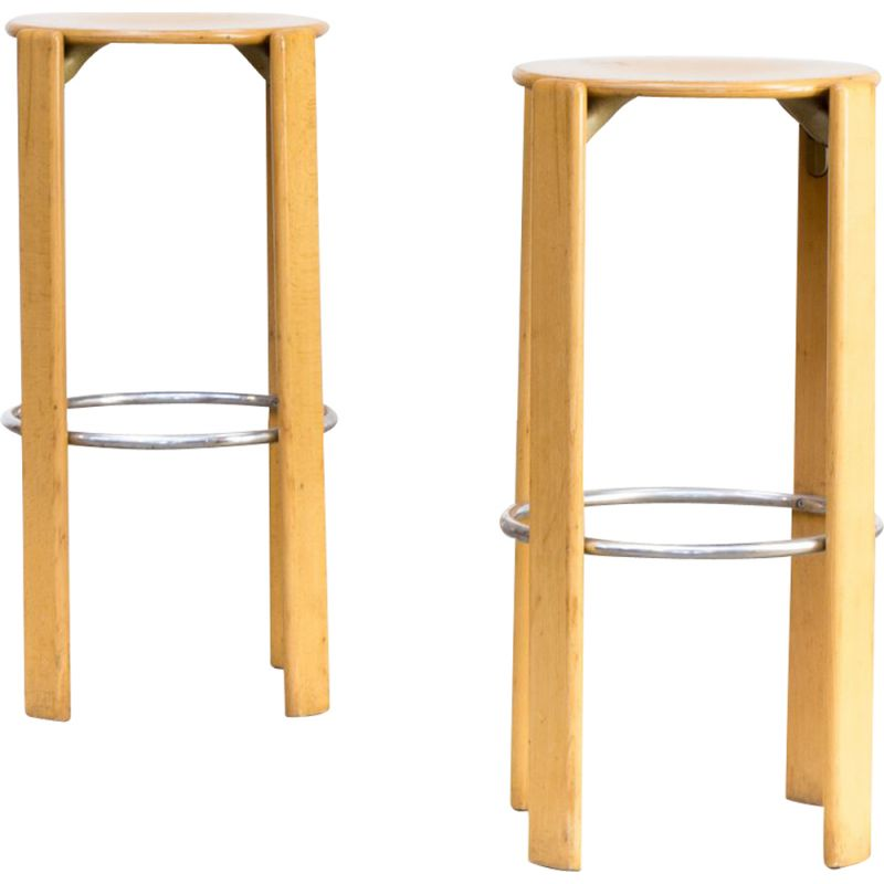 Set of 2 vintage swiss stools for Dietiker Kusch & Co  in beech and metal 1970