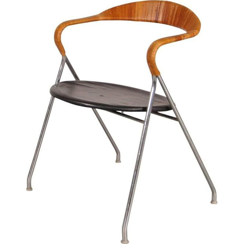 Vintage Saffa HE103 armchair for Dietiker in metal and rattan 1950