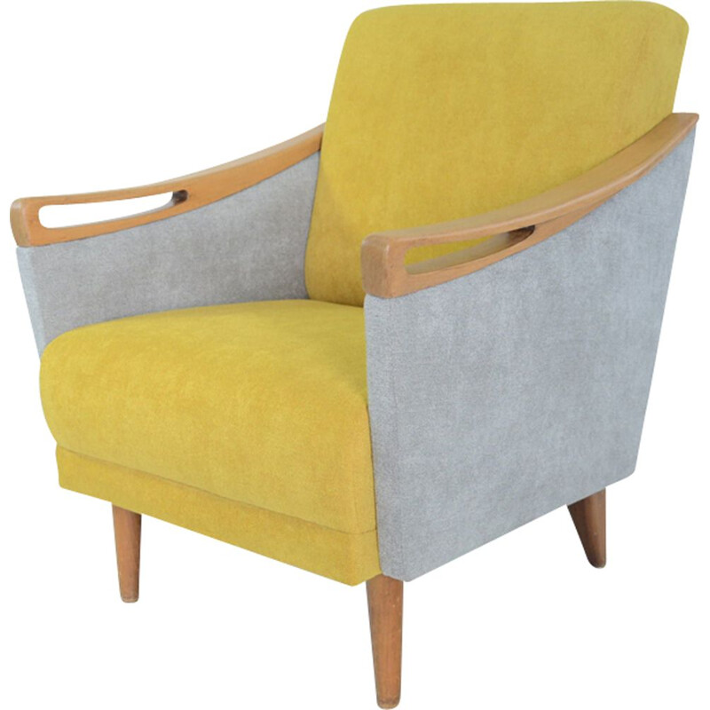 Vintage armchair in yellow and gray fabric and wood 1970