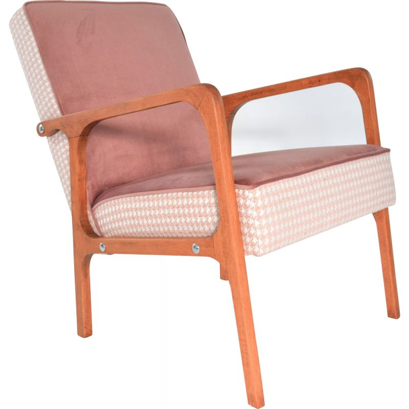 Vintage Kadr armchair in pink velvet and wood 1960