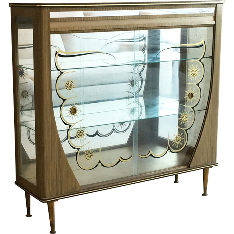 Vintage cabinet in wood and glass 1950