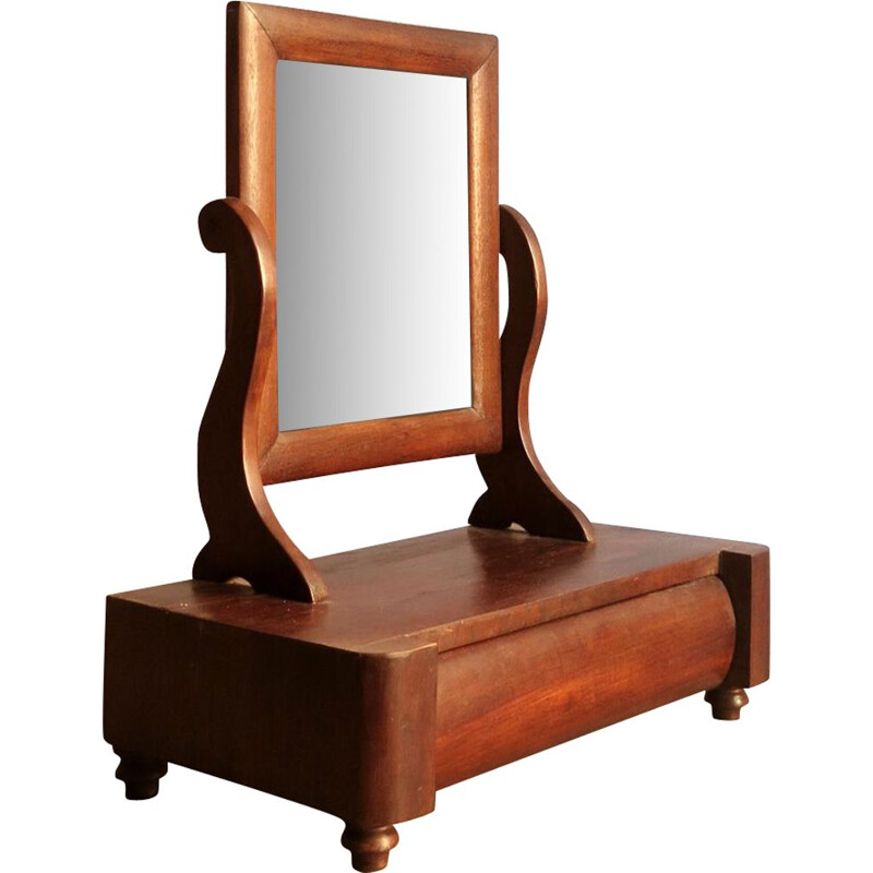 Vintage mirror table in rosewood with drawer,1930
