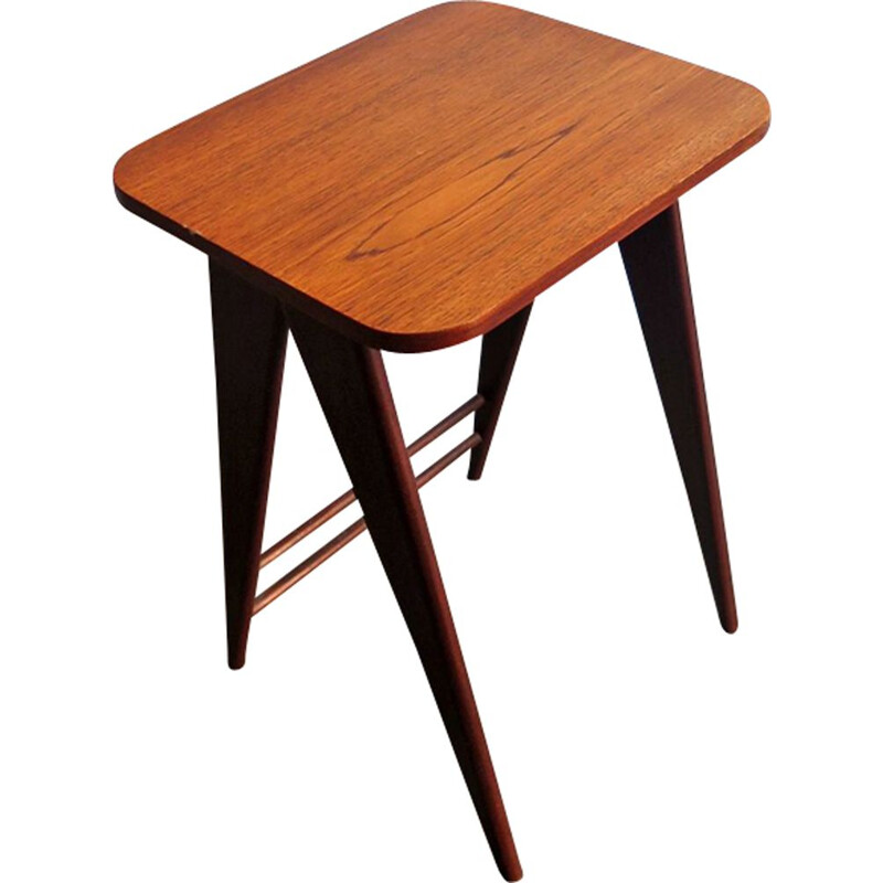 Vintage Dutch teak side table with scissor legs from the 50s