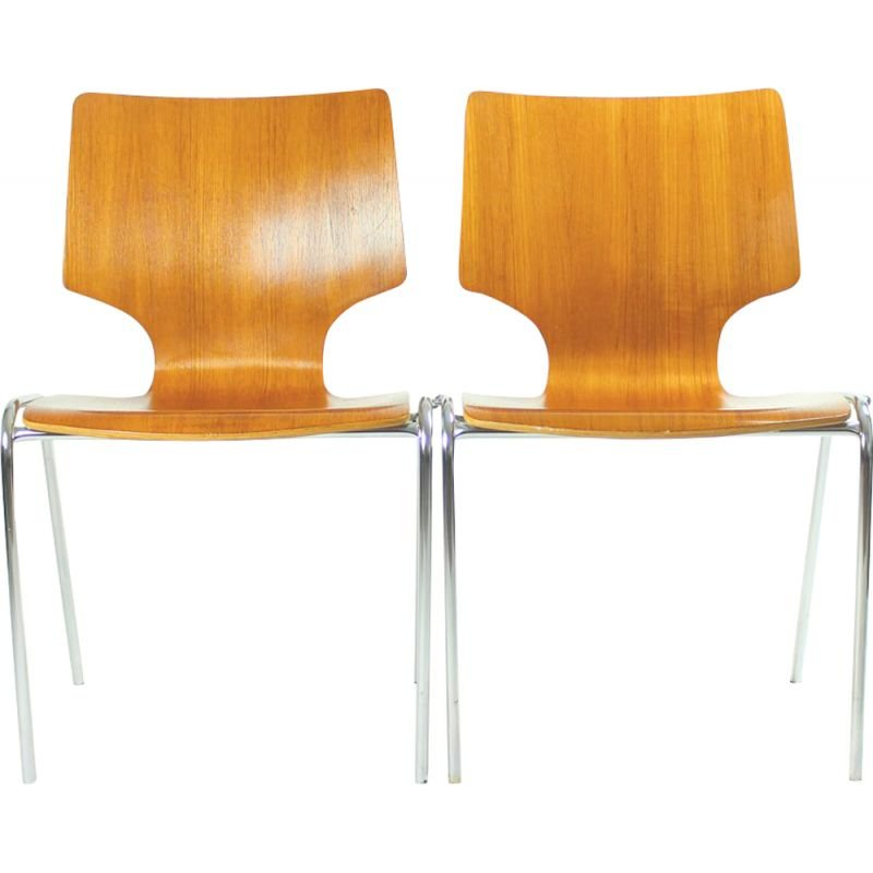 Vintage dining stackable chairs in Bended Plywood and Chromeby Adam Stegner for Flötotto,1980
