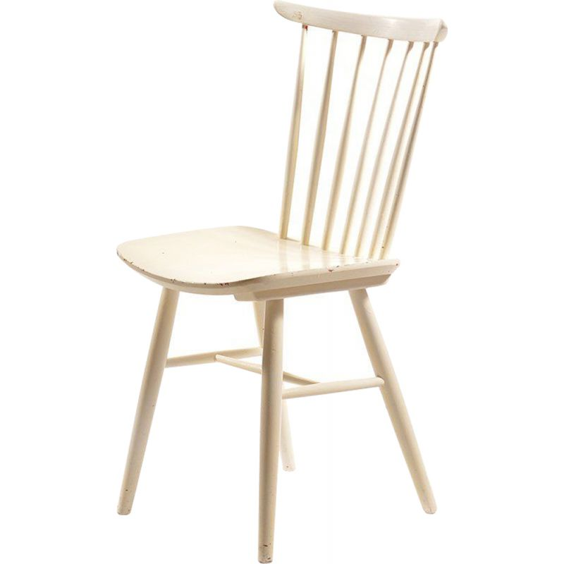 Vintage white chair for TON in wood 1960