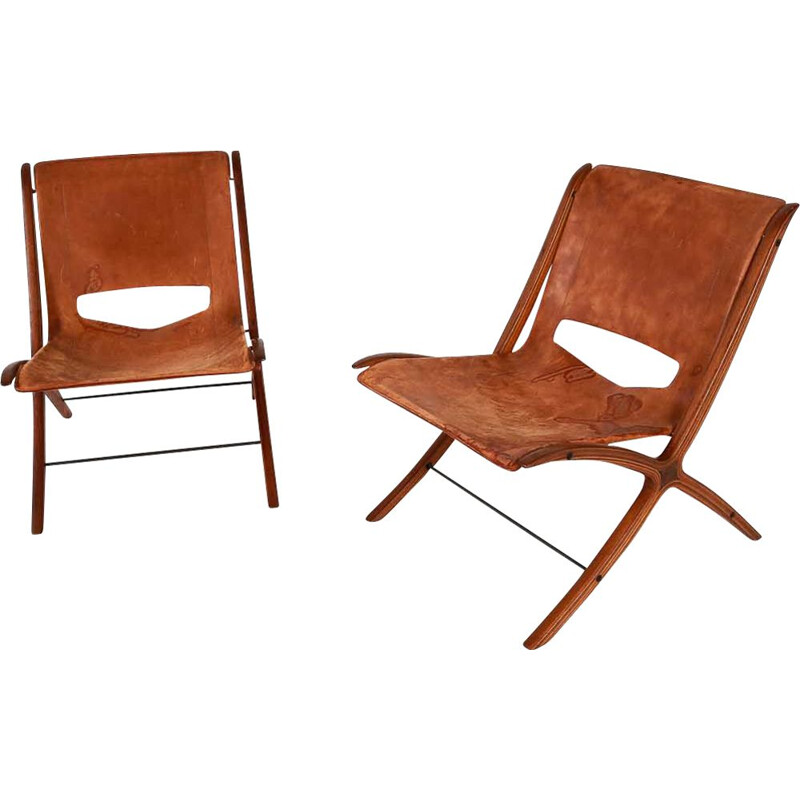 Vintage X-chair armchair for Fritz Hansen in brown leather and mahogany 1950