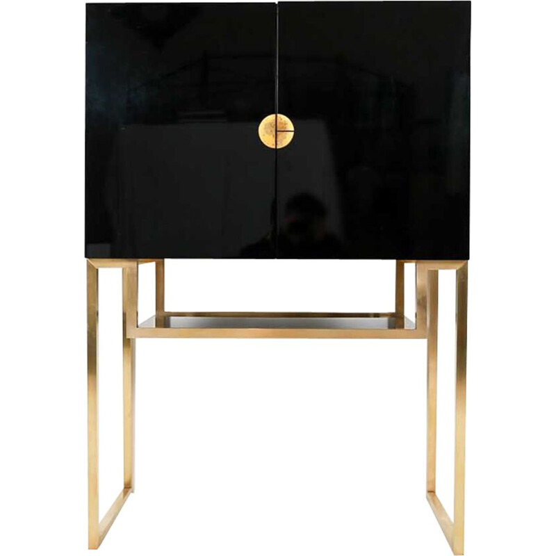Vintage cabinet for Maison Jansen in brass and black melamine 1970