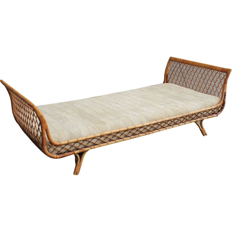Vintage french bed in rattan and leather 1950