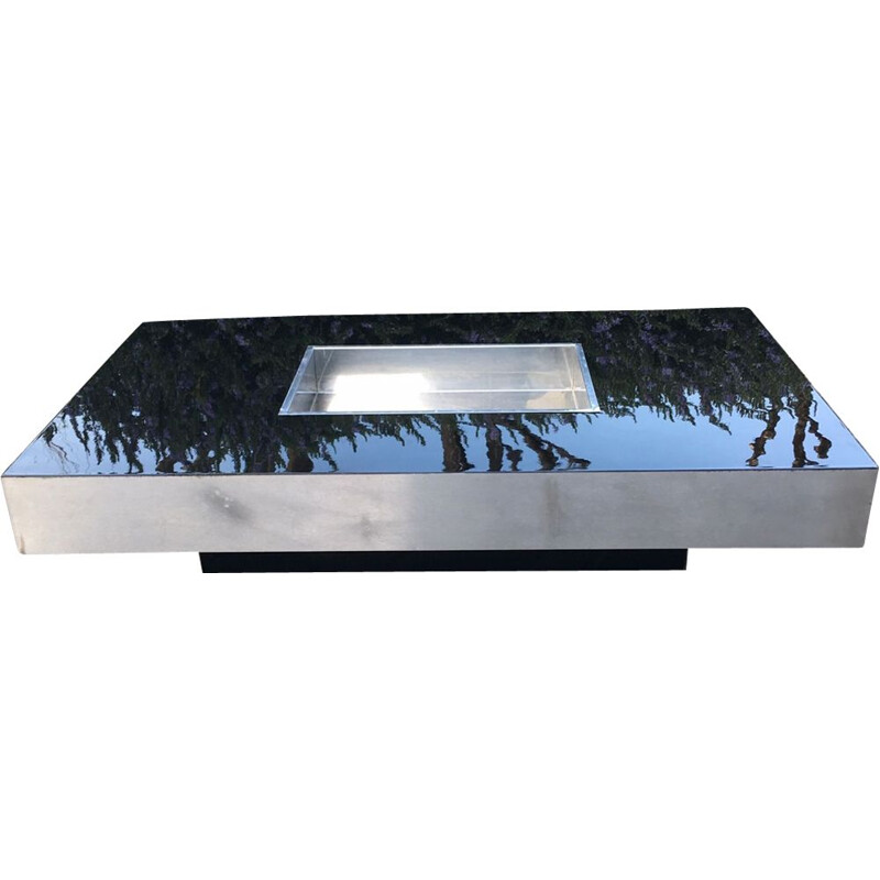 Vintage black coffee table by Rizzo in melamine and plywood 1970