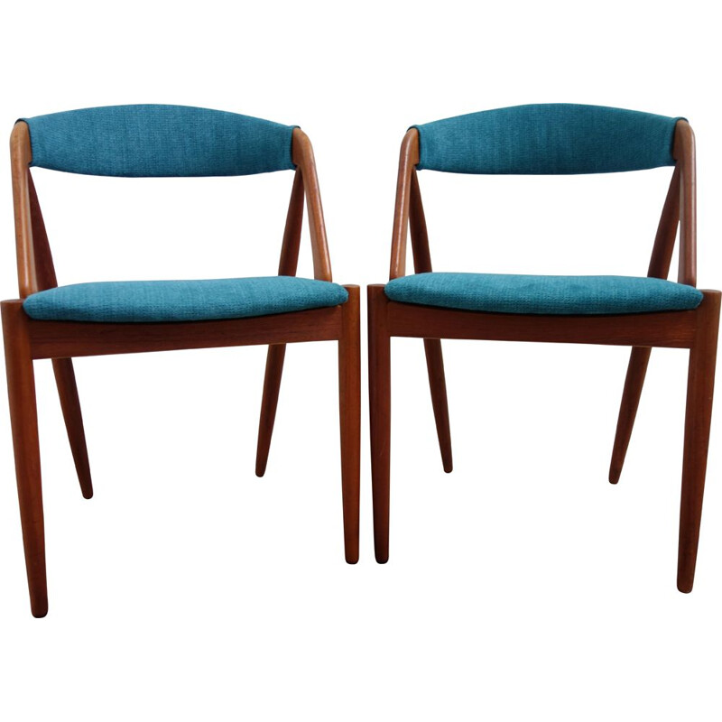 Pair of vintage danish blue chairs for Shou Andersen in teak 1960