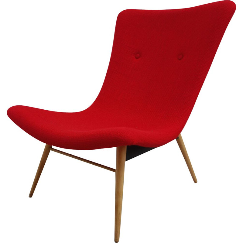 Vintage armchair for Cesky Nabytek in red fabric and fiberglass 1960