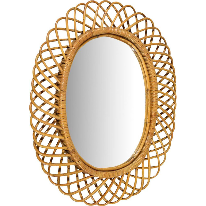 Vintage Italian wicker mirror