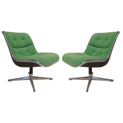 Pair of desk armchairs, Charles POLLOCK - 1960s