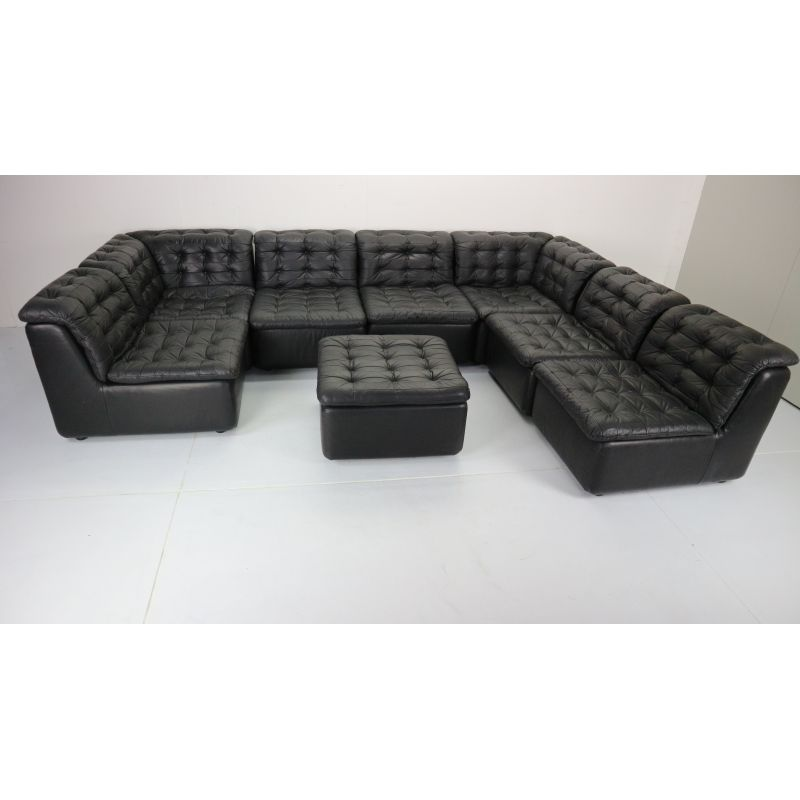 Vintage German Black Leather Sofa 1970