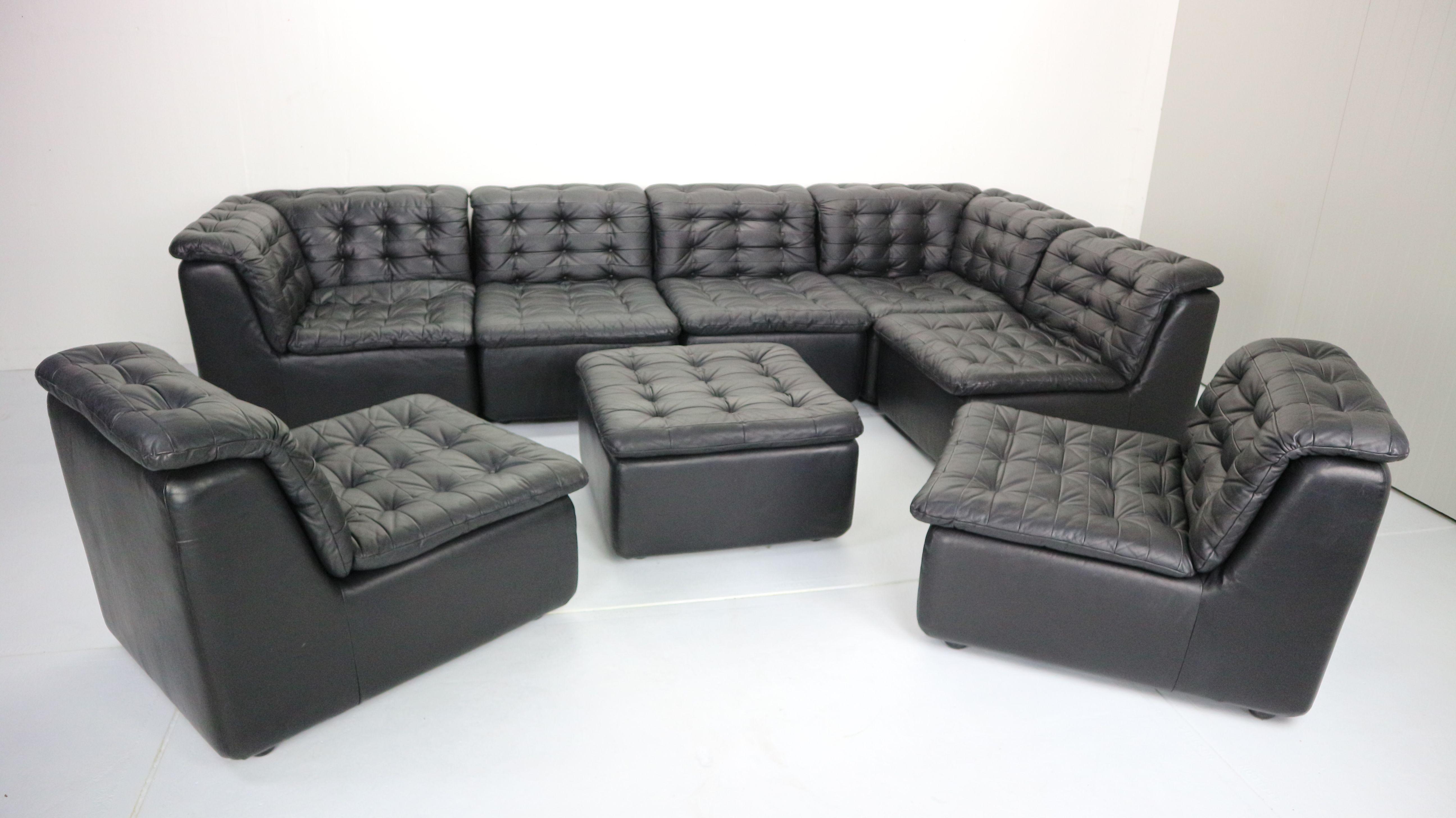 Vintage german black leather sofa 1970 - Design Market