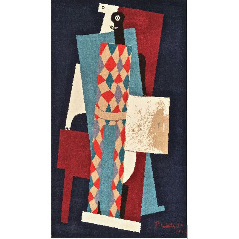 Vintage tapestry Arlequin by Picasso and Desso
